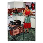 1950s retro vintage housewife in kitchen & turkey greeting card
