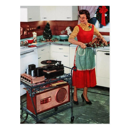 1950s retro vintage housewife in kitchen & turkey