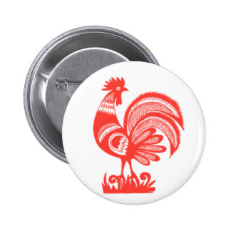 1950s Rooster 6 Cm Round Badge