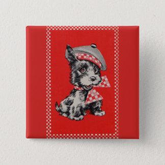 1950s Scottie dog in red 15 Cm Square Badge