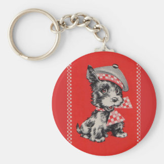 1950s Scottie dog in red Basic Round Button Key Ring