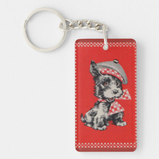 1950s Scottie dog in red Double-Sided Rectangular Acrylic Key Ring