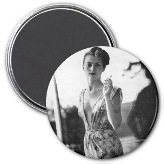 1950s Smoking Showgirl on break 7.5 Cm Round Magnet