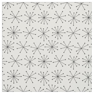 1950's Style Fabric, Black and White Retro Pattern Fabric