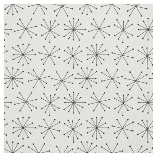 1950's Style Fabric, Black and White Retro Pattern