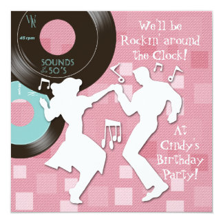 1950's Theme Birthday Party 13 Cm X 13 Cm Square Invitation Card