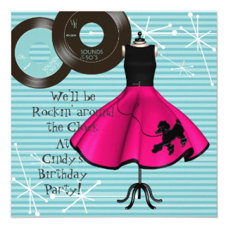 1950's Theme Birthday Party 5.25x5.25 Square Paper Invitation Card