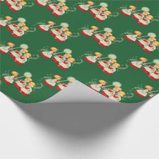 1950s Vintage Christmas Gift Wrap - Choir Children Wrapping Paper