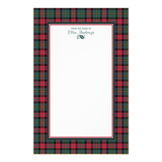 1950s Vintage Christmas Plaid Personalised Stationery