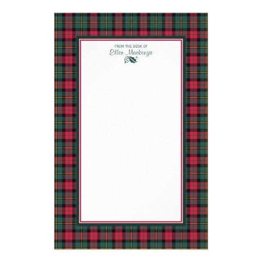 1950s Vintage Christmas Plaid Personalised Stationery Paper