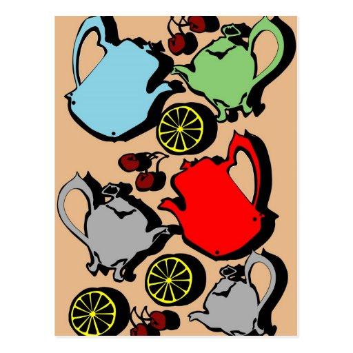 1950s vintage teapots and fruit postcards