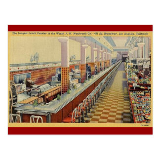 1950's Vintage Woolworth's Lunch Counter Postcard