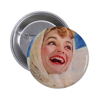1950s vivacious cold weather beauty 6 cm round badge