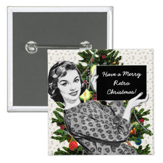 1950s Woman with a Christmas Sign 15 Cm Square Badge