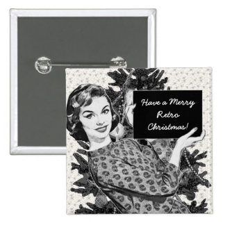 1950s Woman with a Christmas Sign V2 15 Cm Square Badge