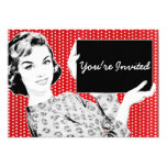 1950s Woman with a Sign 13 Cm X 18 Cm Invitation Card