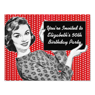 1950s Woman with a Sign Birthday 11 Cm X 14 Cm Invitation Card