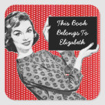1950s Woman with a Sign Bookplate Stickers