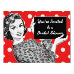1950s Woman with a Sign Bridal Shower 11 Cm X 14 Cm Invitation Card