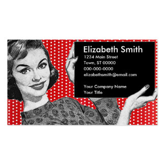 1950s Woman with a Sign Business Card Templates
