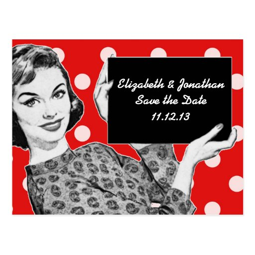 1950s Woman with a Sign Save the Date Postcards