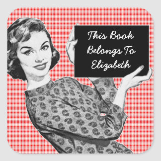 1950s Woman with a Sign V2 Bookplate Square Sticker