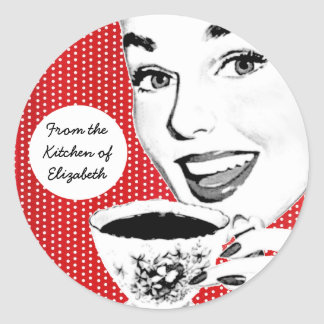 1950s Woman with a Teacup Kitchen Label Round Sticker