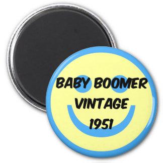 1951 baby boomer 6 cm round magnet