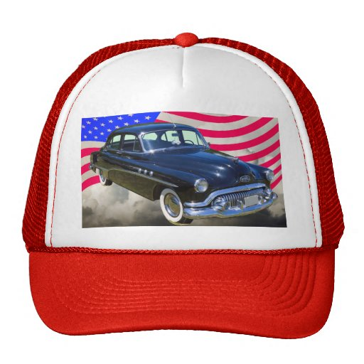 1951 Buick Eight Antique Car And US Flag Hats