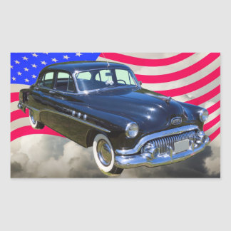 1951 Buick Eight Antique Car And US Flag Rectangle Sticker