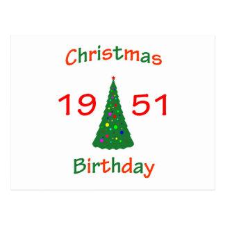1951 Christmas Birthday Postcard