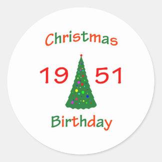 1951 Christmas Birthday Round Stickers