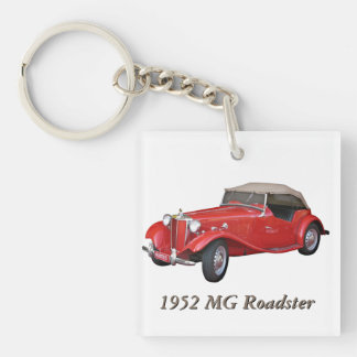 1952 MG Roadster Single-Sided Square Acrylic Key Ring