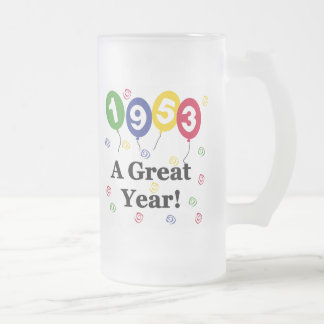 1953 A Great Year Birthday Frosted Glass Beer Mug