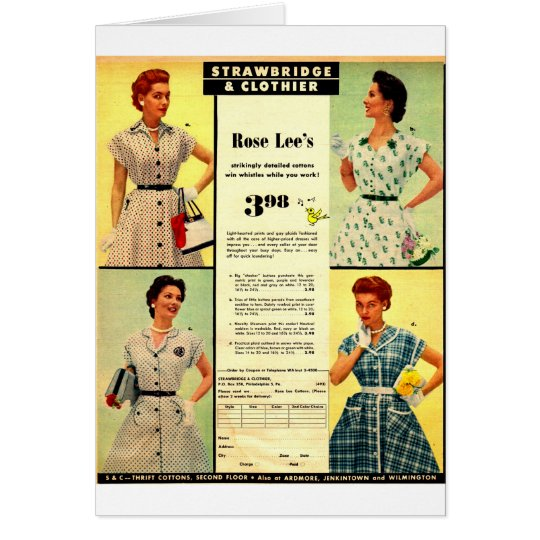 1953 Strawbridge & Clothier dress sale ad Card