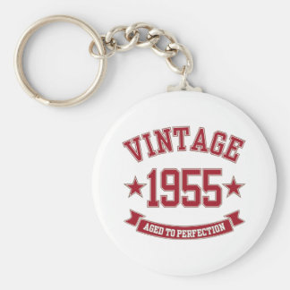 1955 Aged to Perfection Basic Round Button Key Ring