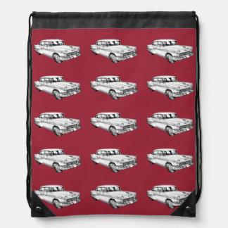 1955 Chevrolet Bel Air Antique Car Illustration Drawstring Backpacks