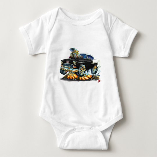 1955 Chevy Belair Black Car Baby Bodysuit
