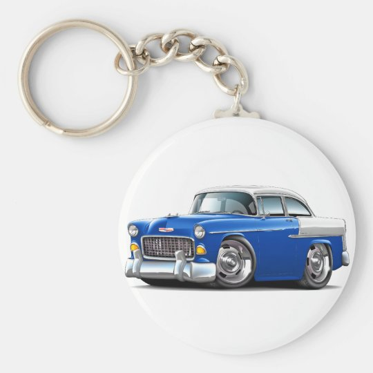1955 Chevy Belair Blue-White Car Basic Round Button Key Ring