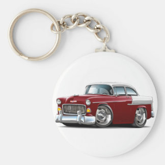 1955 Chevy Belair Maroon-White Car Basic Round Button Key Ring