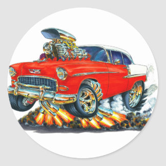 1955 Chevy Belair Red Car Round Stickers