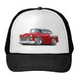 1955 Chevy Belair Red-White Car Trucker Hat