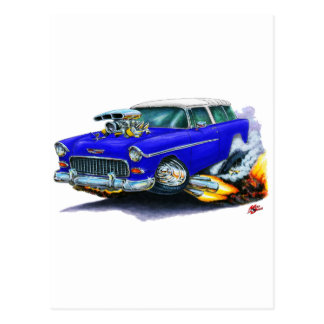 1955 Chevy Nomad Blue Car Post Card