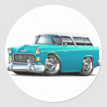 1955 Chevy Nomad Turquoise-White Car Sticker