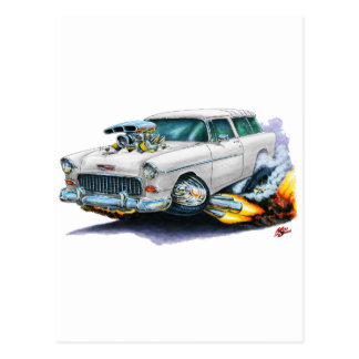 1955 Chevy Nomad White Car Postcards