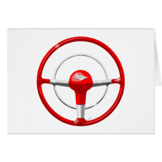 1955 Chevy Red Steering Wheel Card
