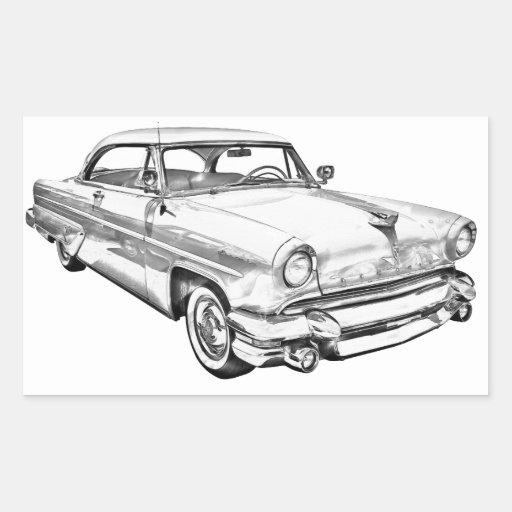 1955 Lincoln Capri Luxury Car Illustration Rectangle Stickers