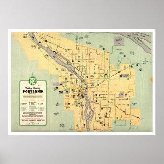 1955 Portland Oregon Trolley Streetcar Map Poster