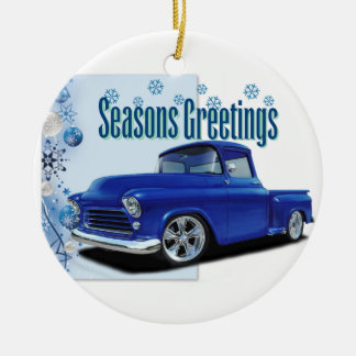 1955 Stepside Season's Greetings Round Ceramic Decoration
