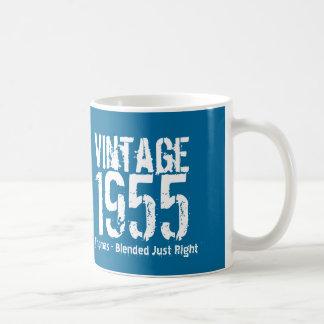1955 Vintage Year or Any Birthday Blue White M55A Basic White Mug